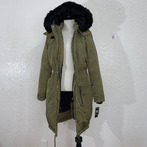 Miss London Black Label Moss Green Jacket Faux Fur